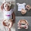 Девочка одежда набор кружева футболка + брюки + головные уборы Новорожденных девочек одежда устанавливает малышей лето ткань roupas де bebe menina 3 м-24 м