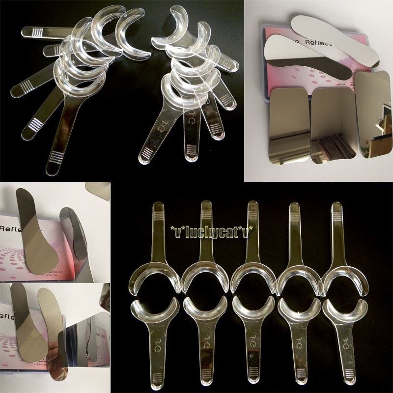 5pcs Dental Clinic Stainless Steel Photographic Mirror + 10PCS Dental T Shape Intraoral Cheek Lip Retractor Opener New