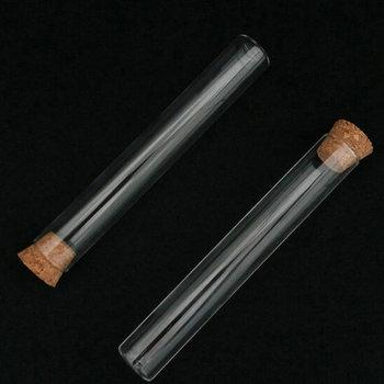 12 unids/lote de tubos de ensayo de fondo plano de vidrio transparente de 30x200mm con tapón de corcho para cristalería de laboratorio