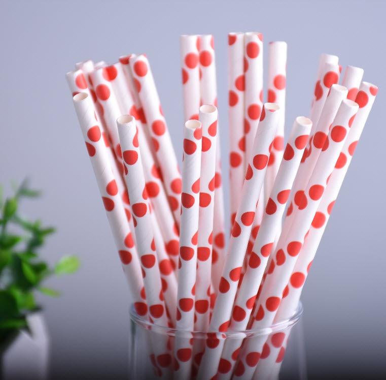 ჱ25 unids/lote vintage Polka gran punto rojo papel Pajitas para la ...
