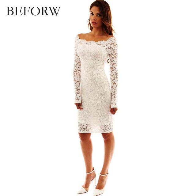 Beforw с открытыми плечами платье Для женщин весна–лето с длинным рукавом Сексуальная Кружево Платья для женщин черный, белый цвет элегантное праздничное платье одежда для Для женщин