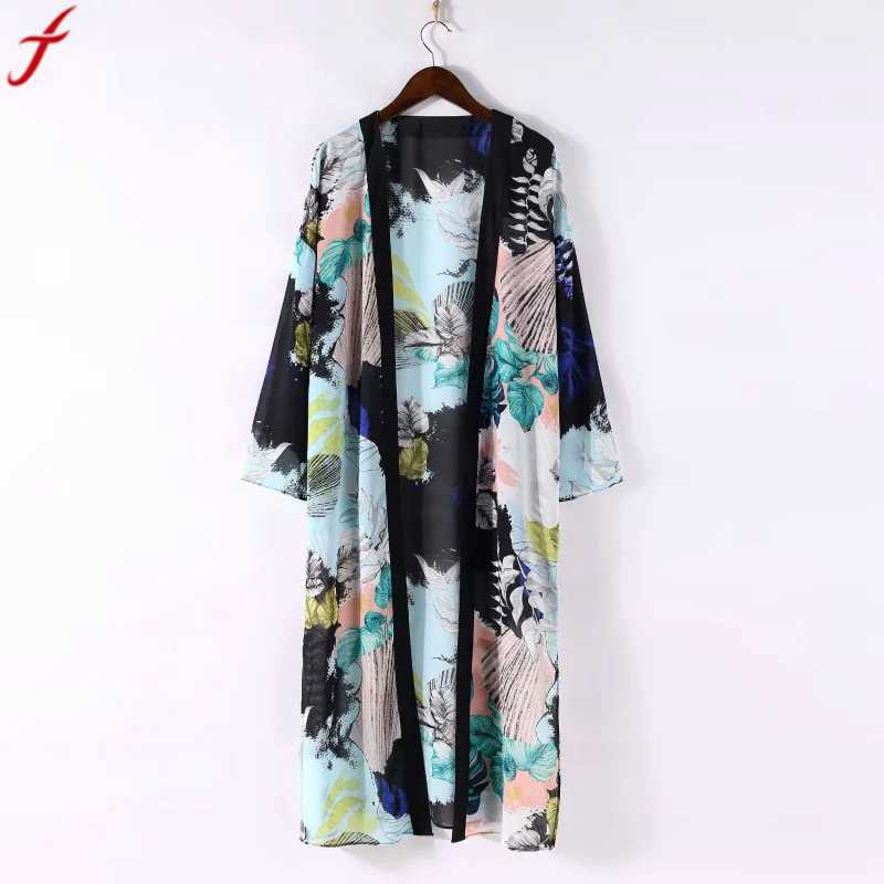 Women Boho Floral Printed Long Blouse Loose Shawl Kimono Cardigan Boho Beach Cover up Shirt Outwear blusa mujer feminino#4(China)