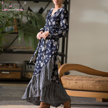 2019 Spring Long Sleeve Wrap Maxi Dress Women Floral Print Elegant Party Long Dress Ruffles Sexy Bohemian Floor Length Dresses bohemian floral print floor rug