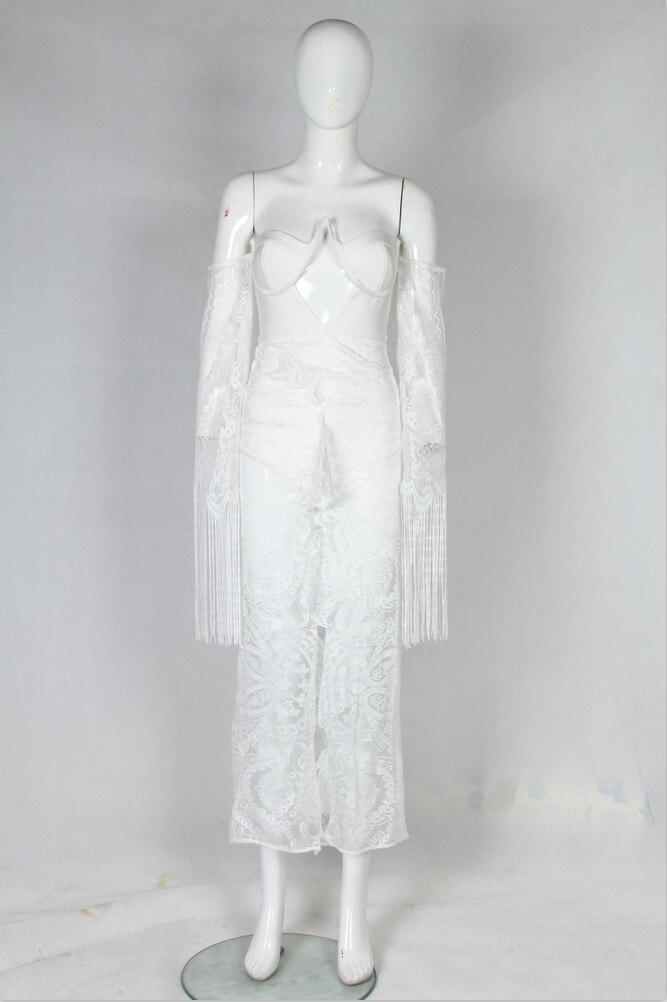 Gros Moulante Sans Blanc Flare Cheville Robe Bretelles Lacée Femme longueur Manches Pour En De Soirée Dentelle 6ZY6rxS