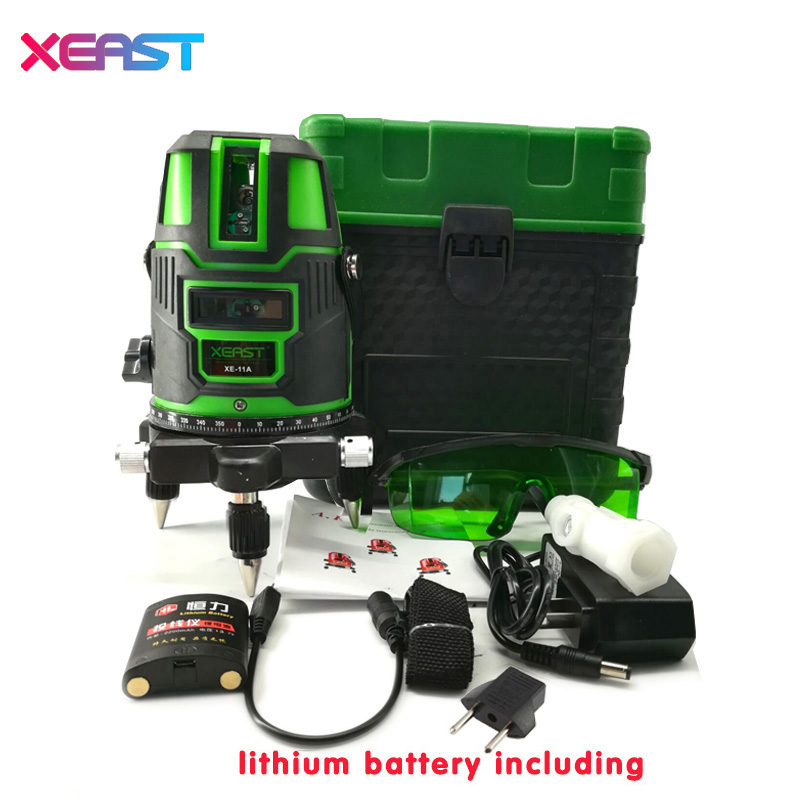 XEAST XE-11A Green laser level meter 3 Lines 360 degree rotary cross laser line level can be used with outdoor mode kapro laser level laser angle meter investment line instrument 90 degree laser vertical scribe 20 meters