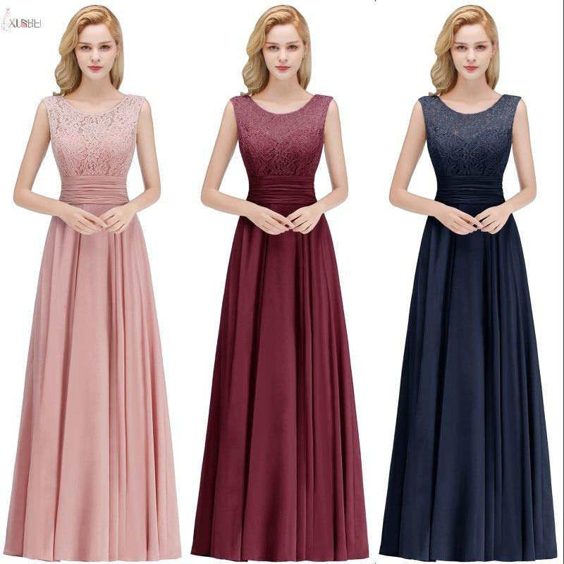2019 Elegant Pink Burgundy Chiffon Long   Bridesmaid     Dresses   Sleeveless Wedding Party Guest   Dress   robe demoiselle d'honneur