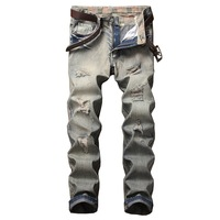 Mannen Mode Ripped Jeans Straat hiphop Stretch Jeans Slim Fit Grey Denim Biker Jean Hoge Kwaliteit Oude Kleur Wassen Designer Jeans