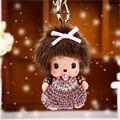 cartoon monchichi keychain lovely doll pendant Inlay Crystal Rhinestone Key chain llaveros for woman bag charm porte clef Gift