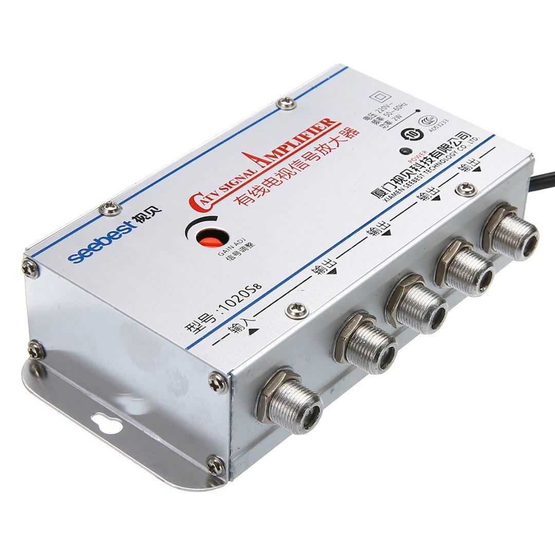 MAYITR 4Way CATV VCR TV Antenna Signal Amplifier 20DB 45-860MHz Low Noise  Design Booster Splitter For CATV