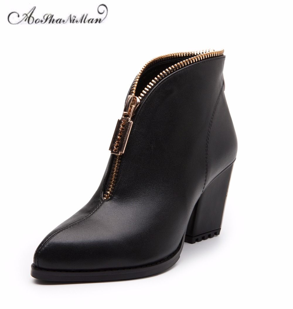Autumn winter women ankle boots genuine leather middle heels boots ladies fashion metal pointed toe zipper dress shoes  34-41Autumn winter women ankle boots genuine leather middle heels boots ladies fashion metal pointed toe zipper dress shoes  34-41