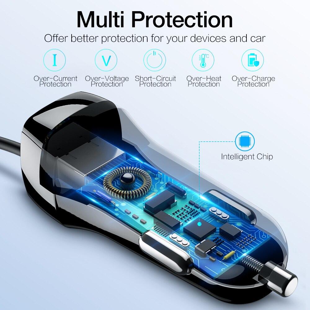 Image 3 - RAXFLY USB Автомобильное Зарядное устройство для iPhone X 7 телефон автомобиль Зарядное устройство с микро Тип usb c освещения кабель для samsung s9 S8 плюс fast Charge автомобильное зарядное устройство-in Зарядные устройства from Мобильные телефоны и телекоммуникации