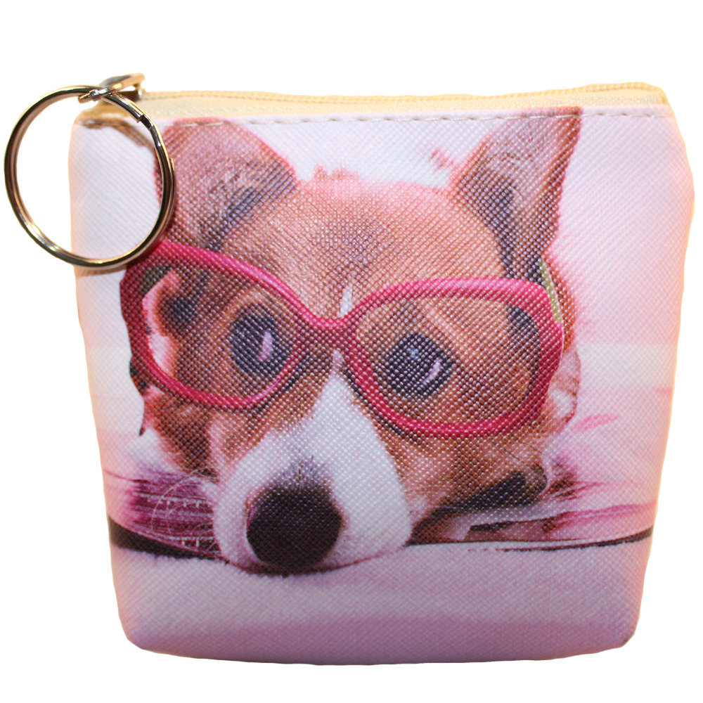 2017 Women Coin Purses Lovely Dog Cat Face Cute Girl Animal Mini Bag Key Ring Case Zipper Wallet Pouch Change Purse wholesale