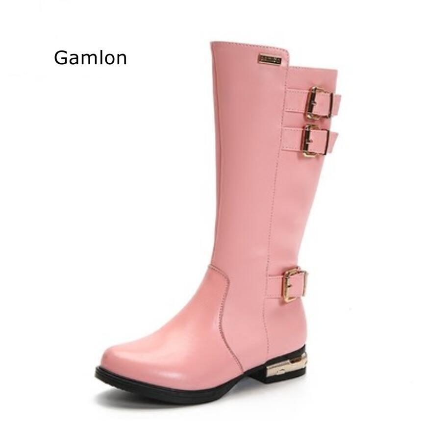Gamlon Children's Boots 2017 High Top Boots Princess Boots Fashion Autumn Winter New Real Leather And Pu Girls Shoes Buckle 2014 new autumn and winter children s shoes ankle boots leather single boots bow princess boys and girls shoes y 451