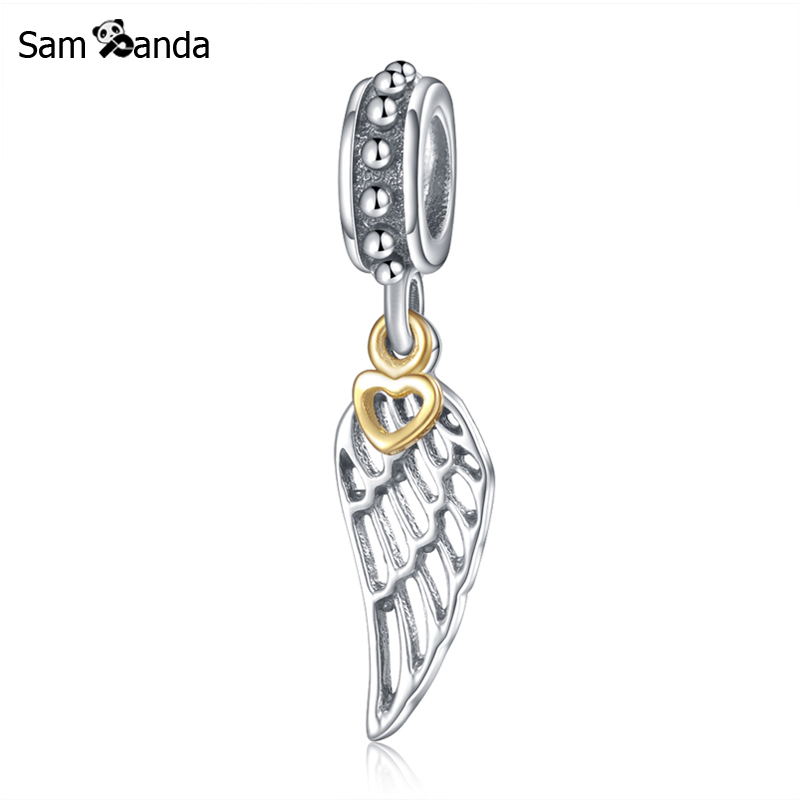 925 Sterling Silver Dangling Angel Wing Charm Bead