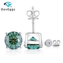 DovEggs 4CTW 8mm Dark Blue Moissanite Stud Earrings for Women and Men Sterling Solid 925 Silver Push Back