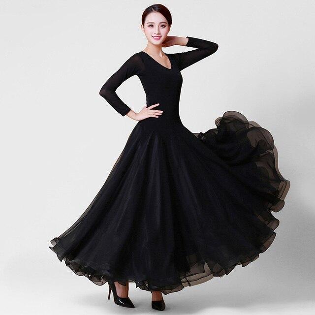 Костюмы для бальных танцев танцевальная Платья для женщин женские с длинным рукавом черный Танго вальс Танцы юбка Для женщин Костюмы для бальных танцев танцевальный конкурс платье
