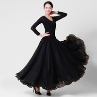 Ballroom Dance Dresses Lady's Long Sleeve Black Tango Waltz Dancing Skirt Women Ballroom Dance Competition Dress