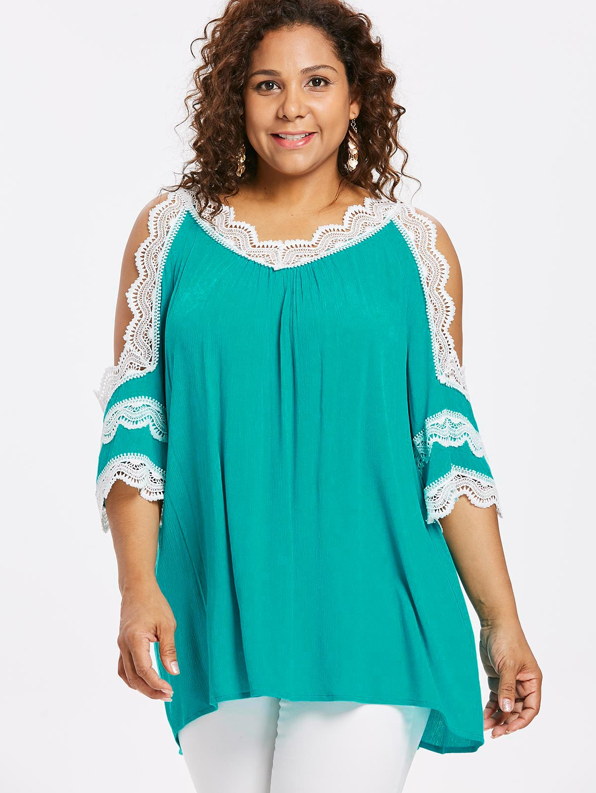 75e9664bb0bb9 Lortalen Plus Size Women Casual Blouses Lace V Neck Cold Shoulder Three  Quarter Sleeve Blouse Ladies Tops Blusas Large Size 5XL-in Blouses & Shirts  ...