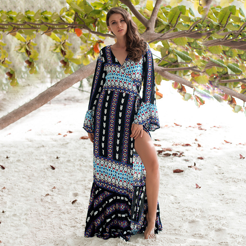 Bicycle Hubs Pareo Beach Cover Up Saida De Praia Womens Outings 2019 Robe Plage Long Sleeve Irregular Loose Strap Perspective Lace Dress