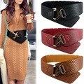 Wide Elastic Cinch Belt Women's Rocker Fashion Belt Gold Metal Rivet Wide Belts For Dress Coat Cummerbund Retro Style