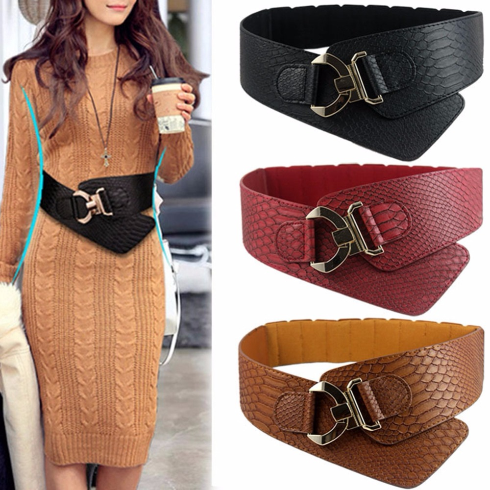 Wide Elastic Cinch   Belt   Women's Rocker Fashion   Belt   Gold Metal Rivet Wide   Belts   For Dress Coat Cummerbund Retro Style