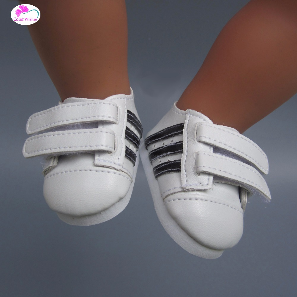 Fashionable white sneakers shoes for dolls  fits 43 cm Zapf dolls baby born and 18 American Girl