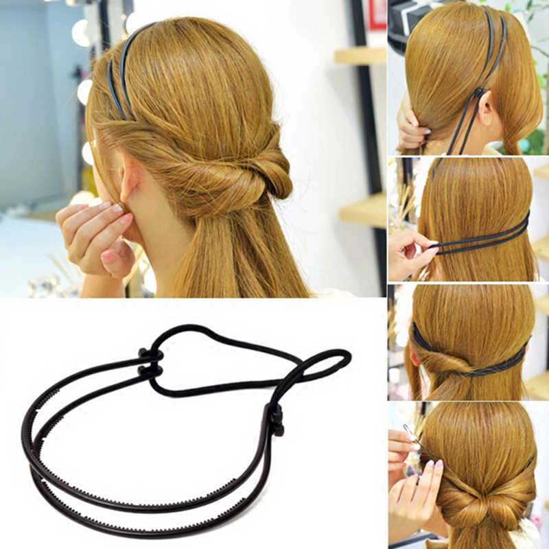 Fashion Woman Hair Accessories Magic Hair Curls Bun Double Hairbands Hair Hoop Braid Black Plastic Headband Hair Bun Maker New