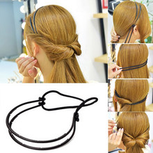 Fashion Woman Hair Accessories Magic Hair Curls Bun Double Hairbands Hair Hoop Braid Black Plastic Headband Hair Bun Maker New(China)