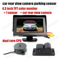 2 In 1 Car Parking Sensors Rear View Backup Camera Universal High Clear Night For Vision Reversing Radar+4.3 car monitor display