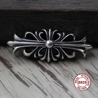 S925 sterling silver brooch Personality retro punk style Cross flower fashion accessories Send a gift to love