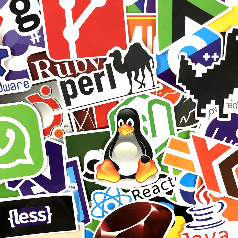 50PCS Developer Docker Sticker Anime Icon Animal Cute Stickers Gifts for Children To Laptop Suitcase Guitar Fridge Bicycle Car E in Stickers from Toys Hobbies