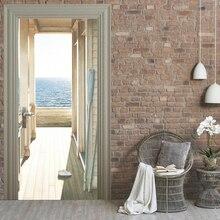 Дверь стикер водонепроницаемый 3d оригинальность ПВХ с тех пор клейкая бумага украшения спальни гостиной стикер стены коридора море креативный