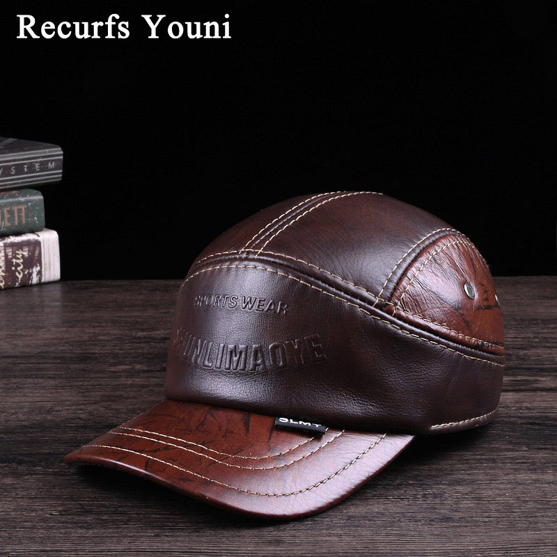 e34074a730e RY121 New 2019 Spring Man Genuine Leather Baseball Caps Male Casual Cowhide  Belt Ear Warm 56