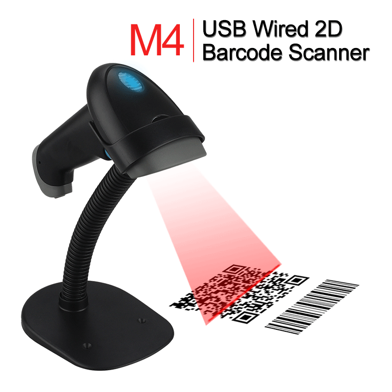 M4 Handheld Wired USB 2D Barcode Scanner PDF417 DM QR Code Reader Scaning Phone Windows Screen Bar Code 2D Scanner W/Holder