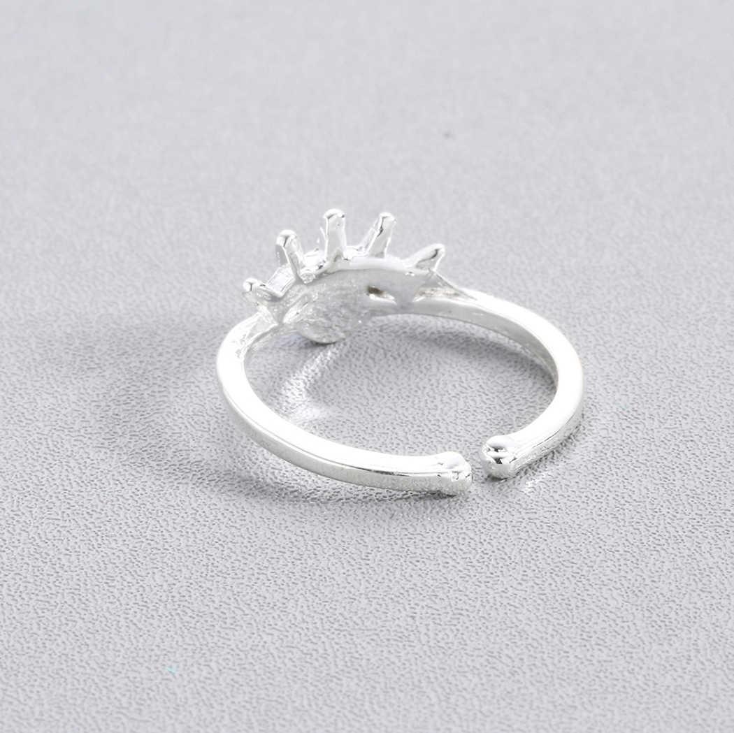 Cxwind Azul Cúbicos de Zircônia Anéis de Olho para As Mulheres Ajustáveis anillos Jóias Evil Eye anel de Noivado Anel de Casamento Feminino