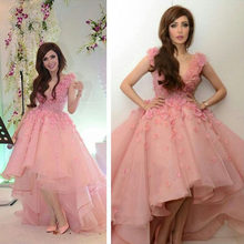Blush Pink High Low Evening Gowns Princess Short Prom Gown Short Front Long  Back 3D Flowers Arabic Party Dress Vestido longo 52d7fa92402f