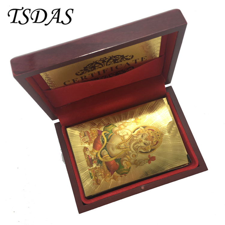 Free Shipping Colorful India God Gold Foil Poker Cards 24k Gold Souvenir Playing Cards With Wooden Box