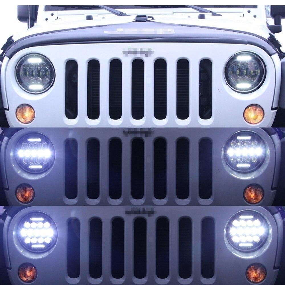 For Jeep Wrangler Defender Led Headlight 7inch Round High Low Beam DC 12v 24v External Lights headlamp For Lada 4x4 urban Niva pair for 7 inch round headlight 12v 24v dc high low beam and angel eye led for jeep wrangler jk tj harley davidson motorcycle