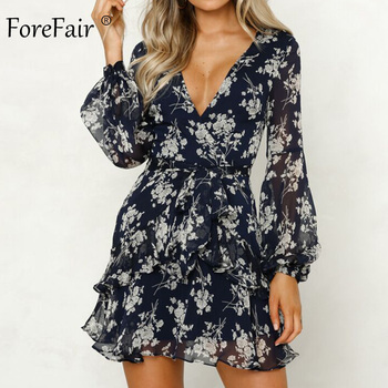 Forefair Transparent Floral Chiffon Dress Sexy Long Sleeve Elegant Boho A Line Vintage Sashes Tunic Ruffle Autumn Dress Women
