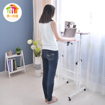 Free Lifting And Moving Sit-Stand Desk Office Workstation Monitor Holder Computer Table With Universal Wheel And Host Holder