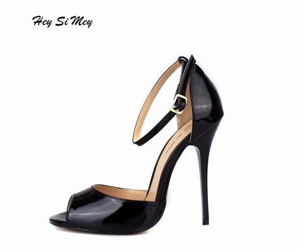 Summer Women's Sandals Shoes Sexy Thin Heel High Heels 13CM Peep-toe Sandals Women Shoes Fashion Bridal Shoes Large Size 40-50