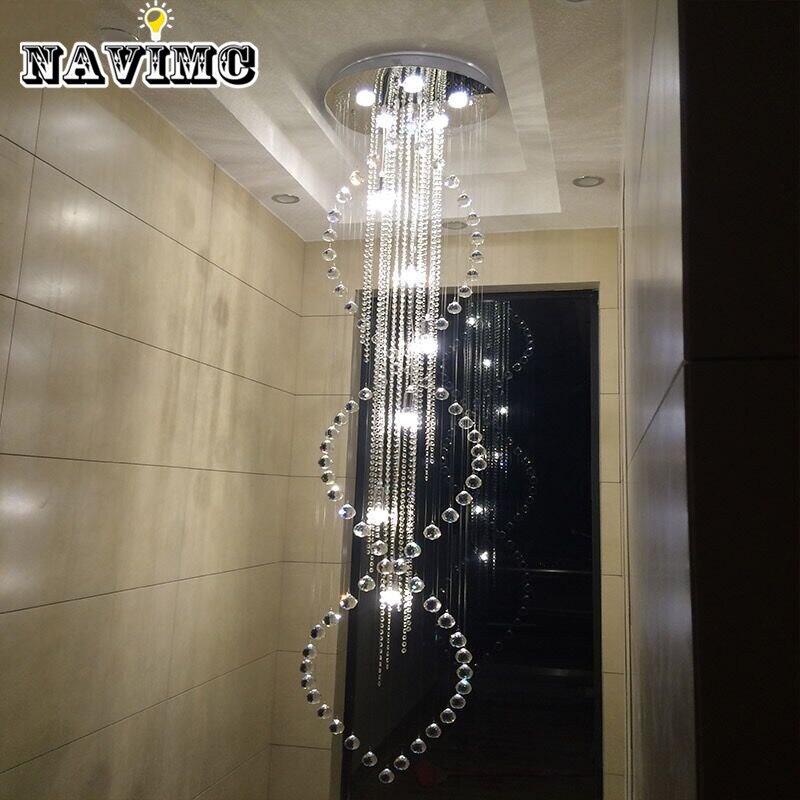 Moderne Große Größe Kristall Kronleuchter Lange Spirale Treppen Leuchte Für  Foyer Hotel Villa