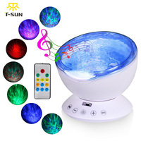 T SUNRISE Ocean Wave Music Night Light Projector With Built In Mini Music Player USB Lamp