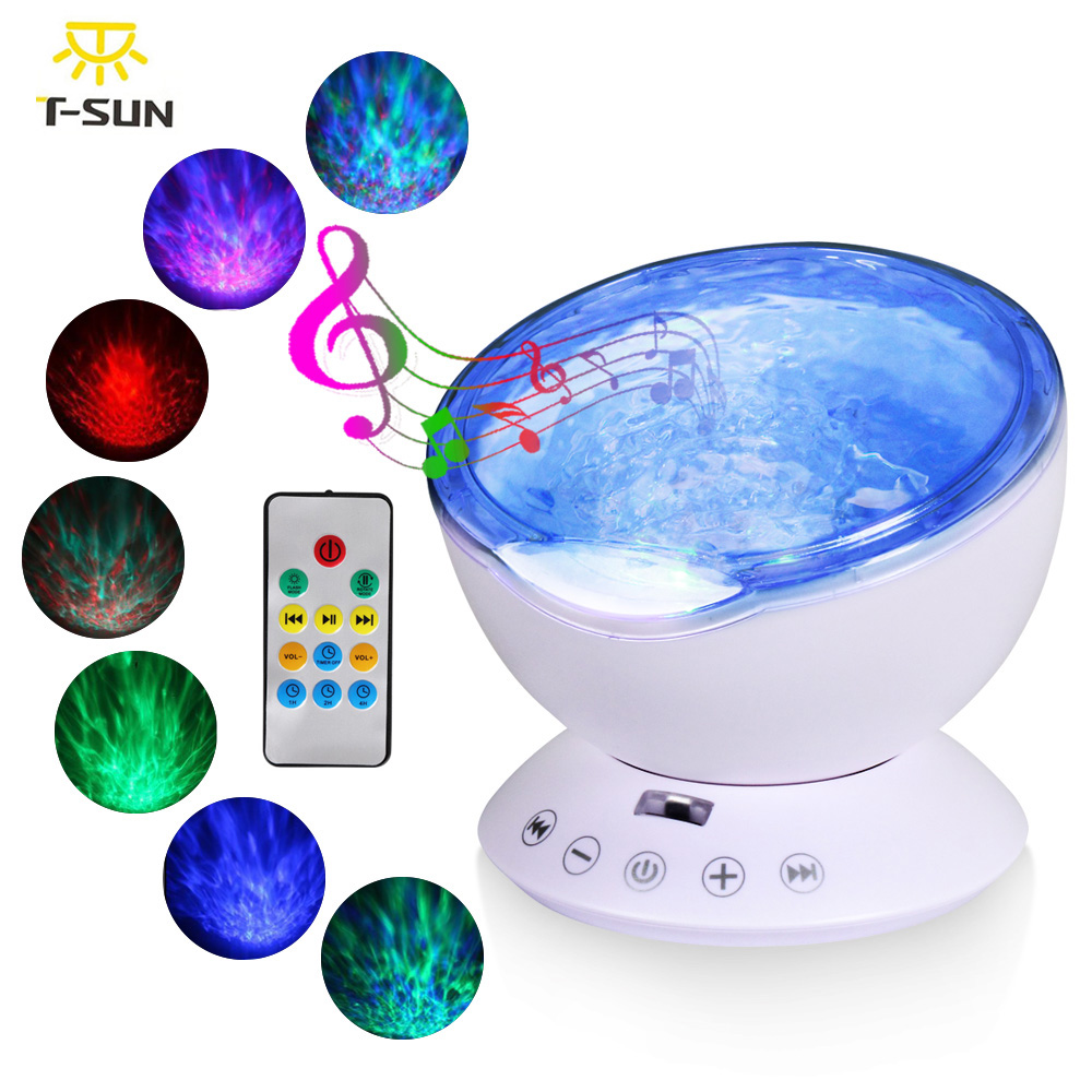 T-SUNRISE Oceano Onda Bebê Música Night Light Projetor Embutido Mini Music Player USB Lâmpada luz CONDUZIDA Da Noite para As Crianças Do Bebê quarto