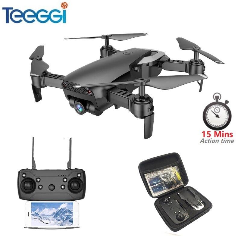 Teeggi M69 FPV Drone RC Drone con 720 P-amplio ángulo de cámara WiFi HD plegable RC Quadcopter helicóptero del viso XS809HW E58 X12 Dron