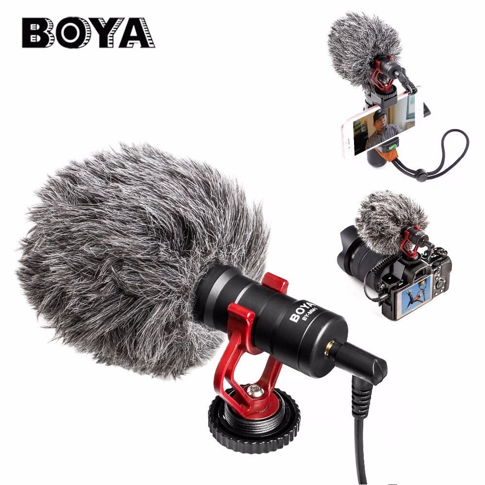 BOYA BY-MM1 On-Camera Video Shotgun Interview Microphone for iPhone HuaWei Smartphone DJI Osmo Zhiyun Smooth Q Canon DSLR