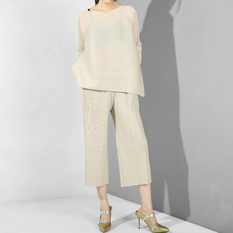 LANMREM 2019 New Spring Summer Round Neck Three-quarter Sleeve Pleated  Loose Wide Leg Pants Two Piece Suit Women Fashion OA9