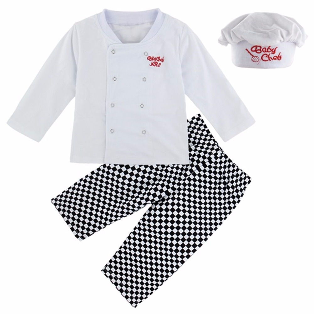 Baby Boy Chef Costume Infant Cosplay Clothing Set T-shirt+Pants+Hat Clothes New Year Carnival White Costume Suit For babies
