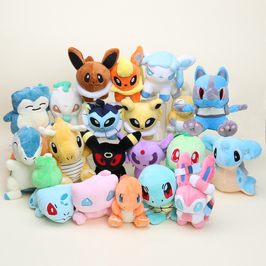 20pcs set eevee plush toys 20 Different style Squirtle Charmander Lucario Plush Character Soft Toy Stuffed