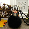Monchhichi fur ball pompom keychain crystal Monchichi Key Chain 9 cm Real rabbit Fur Pom pom Women Handbag car charm Pendant new